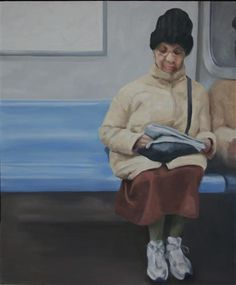 Lady Reading Newspaper - R Train, 34th Street by Michele Riche | oil painting | Ugallery Online Art Gallery