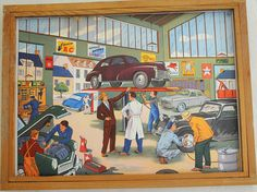 10% off listed price Vintage French School double-sided poster of a busy station and the garage