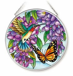 Wisteria Hummingbird Sun Catcher AMIA Round New Butterfly Purple Flowers Glass Painting Patterns, Stained Glass Patterns Free, Glass Painting Designs, Stained Glass Designs, Stained Glass Art, Glass Butterfly, Glass Flowers, Purple Flowers, Quilling Images