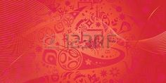 Abstract football red background, Russian folk art elements. Russia, Vector banner. Football dynamic shapes and lines decorative red color pattern.