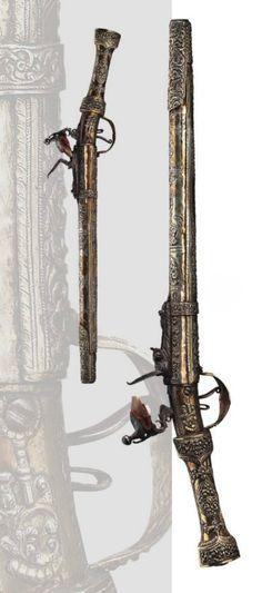 A Balkan Turkish silver mounted flintlock pistol, 18th century.