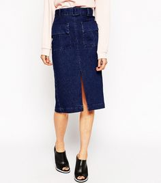 ASOS Denim Belted Midi Skirt With Patch Pockets