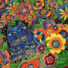 Laurel Burch Fabric CARLOTTA'S GARDEN CATS in Jewel by jannietoots
