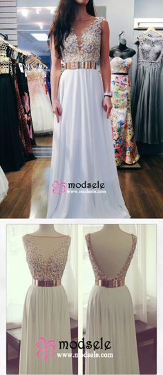 2016 prom dresses,long prom dresses, white chiffon prom dresses with gold belt