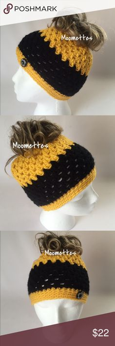 """🆕 Messy Bun Hat Yellow Black Stripe Beanie 🆕 Messy Bun Hat Yellow Black Stripe Ponytail Beanie Handmade Crochet Wood Button Acrylic Size 20"""" Fits 22"""" Circumference New Handmade in USA 🇺🇸 🚫Trades Handmade Accessories Hats"""