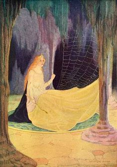'The Swedish Fairy Book', 1921 Editor: Clara Stroebe illustrated by George W. Hood - He saw a girl sitting in the mountain  hall, weaving a web of gold.  From: 'The three Dogs'