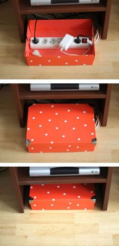 Storage Tip - Cords are an eyesore. Hide cords in a cute shoe box. Slide and tuck away. Life Hacks You Needed to Know Yesterday on Frugal Coupon Living. Storage Hack.