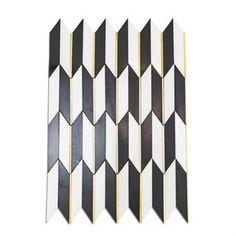 Polarized Brass Line with White Thassos & Nero Marquina