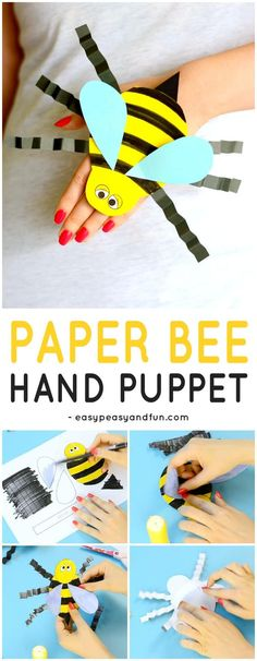 Bee Paper Hand Puppet Template Craft for Kids to Make