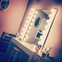 DIY vanity... Bathroom bar lights, mirror, desk... *Boom*