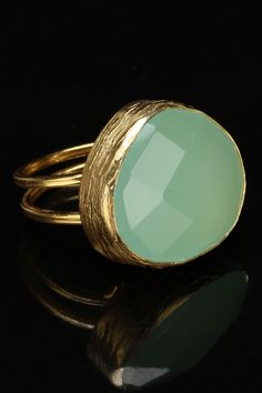 NES Light Green & Gold Plated Stainless Steel Ring