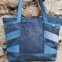 Sac Biguine en jean et simili bleu cousu par Lucile - Patron Sacôtin