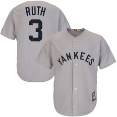 Babe Ruth New York Yankees Majestic Cool Base Cooperstown Collection Player Jersey - Gray - $119.99
