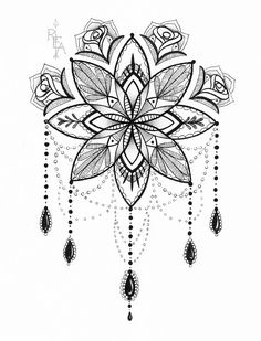 Tattoo inspired pen and ink drawing. Black and white mandala with chandelier design and roses. original pen, ink and pencil drawing 8x10
