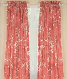 Seascape Toile Rod Pocket Curtains - Coral