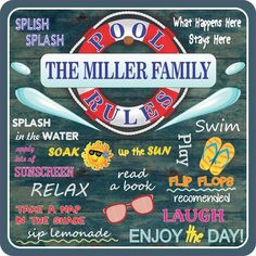 You've heard of house rules, but what about pool rules? Click now to see our distressed wood pool rules sign with your family name.
