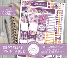 SEPTEMBER Mambi Monthly View Happy Planner Kit Purple Flowers Fall Planner…
