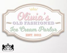 Ice Cream Party Backdrop Sign Logo Sign by WestminsterPaperCo