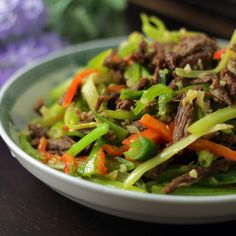 Beef shreds with peppers and celery