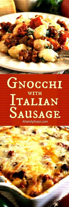 #smothered #ultimate #pickiest #comfort #italian #sausage #spinach #ricotta #gnocchi #tender #family #cre... Sausage Recipes For Dinner, Italian Sausage Recipes, Sweet Italian Sausage, Ricotta Gnocchi, Spinach Ricotta, French Toast, Meat, Chicken, Breakfast