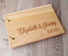 Wooden wedding guest book, rustic wooden wedding guest book album, personalized wedding guest book, wedding sign in book