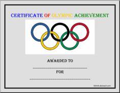 Certificate: Olympics | abcteach