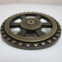 Old Bronze Cog Gear Metal Shank Steampunk Button by Overspill