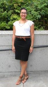 Fashion for Giants outfit featuring cream lace blouse, black pencil skirt, cognac belt & JC sandals