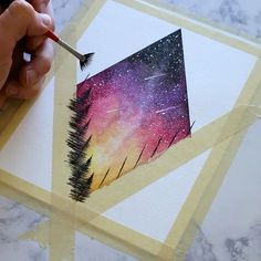 A quick process video of one of my classic diamond starry skies. This one showing the last of the suns rays, with a few shooting stars let me know what you guys think, or if you have any questions about how I painted it! Available on Etsy right now . Art Diy, Art Techniques, Watercolor Paintings, Space Watercolor, Watercolor Galaxy, Easy Paintings, Galaxy Painting Acrylic, Acrylic Paintings, Painting Inspiration
