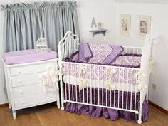 Lilac And Purple Crib Bedding With Damask Embroidered Dots