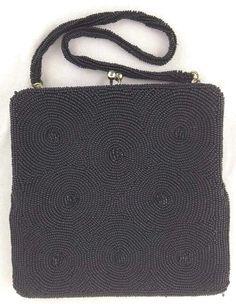 Walborg Richere Beaded Evening Bag Handmade in Japan Black Imported 1960s #Handmade #EveningBag #CocktailFormalEveningClub