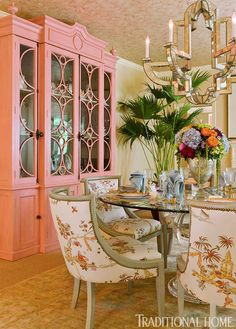 "Stunning dining room in the D. Designed by Shazalynn Cavin-Winfrey. Chair fabric is ""La Pagode Chine""/Antique from Cowtan & Tout. Plywood Furniture, Dining Room Furniture, Painted Furniture, Dining Rooms, Room Chairs, Painted Sideboard, Pink Furniture, Furniture Sale, Luxury Furniture"
