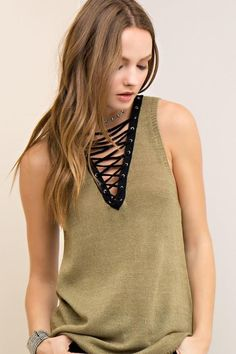 Find Entro Sleeveless Solid Knit V-Neck Top Lace Up Detail online. Shop the latest collection of Entro Sleeveless Solid Knit V-Neck Top Lace Up Detail from the popular stores - all in one Las Vegas Fashion, Scottish Women, Edgy Look, Calvin Klein Women, Knitted Tank Top, Lace Tops, Outfit Posts, V Neck Tops, Boho Fashion
