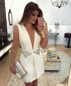 Very nice white dress with silver details Sexy Dresses, Cute Dresses, Beautiful Dresses, Evening Dresses, Short Dresses, Fashion Dresses, Prom Dresses, Formal Dresses, Vestidos Sexy