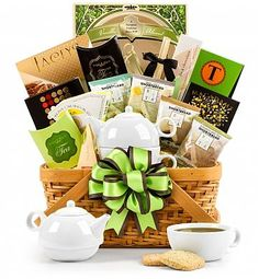 Teatime Gift Basket - The perfect gift for a tea-lover.  Includes a teapot for one set, teas, and yummy goodies.
