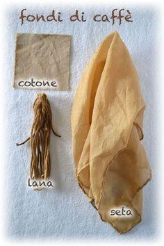 tintura naturale su seta lana e cotone, con fondi di caffè
