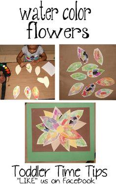 watercolor flowers  Toddler Time Tips @ https://www.facebook.com/toddlertimetips