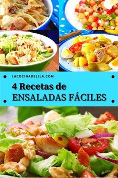Hoy tenemos 4 RECETAS DE ENSALADAS super ricas, rápidas y muy fáciles que no pueden faltar en tu mesa este verano!! ¡VAS A QUERER PROBARLAS TODAS! #ensaladas #cenas #lacocinadelila