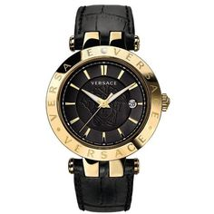 Versace V-Race 3 Hands Gold Case Black Dial Black Strap Watch (10180 MAD) ❤ liked on Polyvore featuring jewelry, watches, accessories, black, black leather strap watches, black face watches, yellow gold jewelry, versace jewelry i black dial watches