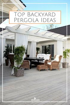 charming white deck pergola with wicker furniture . charming white deck pergola with wicker furnit Diy Pergola, Deck With Pergola, Wooden Pergola, Outdoor Pergola, Pergola Plans, Outdoor Rooms, Backyard Patio, Backyard Landscaping, Outdoor Living