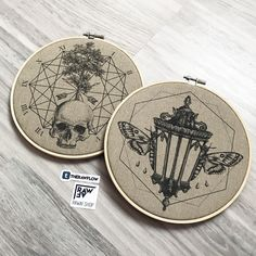 """Skull moth canvas print home decor - """"Embroidery hoops"""" collection available at rawaf.shop"""