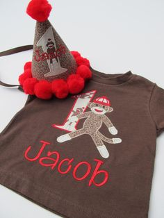 Personalized Sock Monkey Birthday Shirt Set by FunnyFarmCreations, $42.00