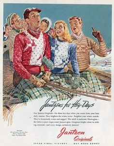 Wonderful winter novelty print Jantzen sweaters from 1944