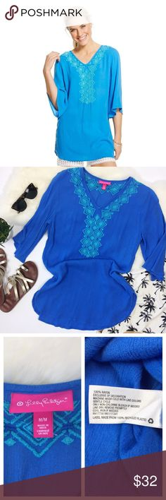 """- LILLY PULITZER - Blue Embroidered Beach Tunic Your beach party forecast is a 100% chance of fabulous in the lilly pulitzer for target women's embroidered tunic. It's the perfect coverup at the pool or wherever your day takes you. In brilliant blue gauze with turquoise embroidery along the neckline, flowy bell sleeves and a side slit for added comfort. Excellent pre-loved condition, no flaws. True to size. Approx. Measurements  Bust: 19"""" Length: 30"""" front 31.5"""" back 🛍Bundle & Save 20%…"""