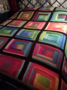 Paintbox Log Cabin Blanket By Katherine Keyes - Free Knitted Pattern - (ravelry)