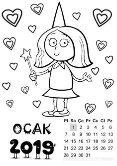 ocak ayı kalıbı January Calendar, Free Calendar, 2019 Calendar, Calendar Printable, Templates Printable Free, Free Printables, Calendar Templates, Student Calendar, Preschool Painting