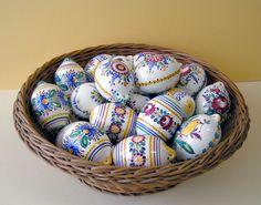 Modra ceramic eggs from Slovakia Heart Of Europe, Easter Season, Egg Art, Egg Shape, Beautiful Artwork, Easter Eggs, Pottery, Handmade, Nostalgia