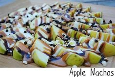Apple nachos....has peanuts where other recipes show pecans.  Also caramel, marshamallow, & chocolate chips