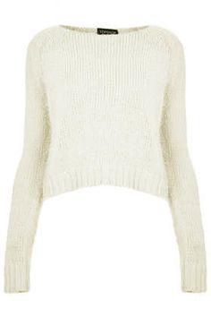 Topshop Knitted Fluffy Crop Jumper