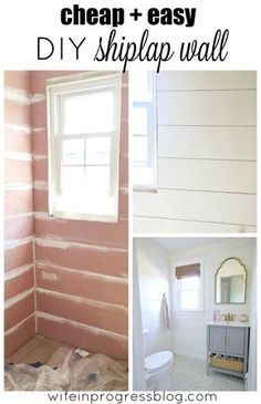 Cheap and easy DIY shiplap tutorial using cheap plywood. Click for lots of pictures and a full tutorial.